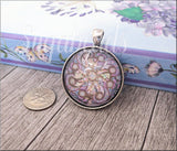 Antiqued Silver Purple Mandala Pendant, Glass Dome Pendant, Kaleidoscope Design Pendant