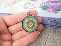Green Mandala Pendant, Glass Dome Pendant, Kaleidoscope Design Pendant