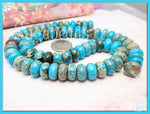 Blue Imperial Jasper Gemstone Rondelles 10mm x 6mm