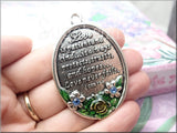 Love is Patient Pendant, Large Silver & Enamel Oval Pendant - sugabeads