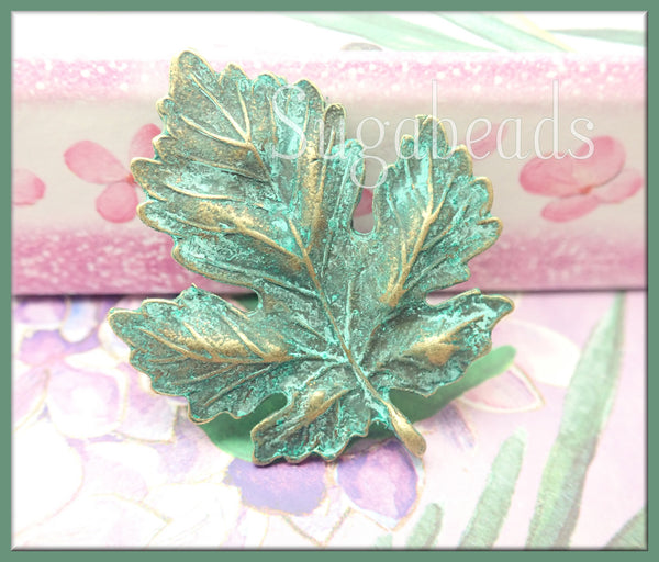 2 Bronze and Green Patina Maple Leaf Pendants