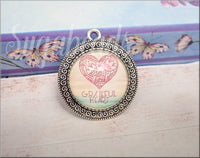 Boho Grateful Heart Pendant, Glass Dome Pendant
