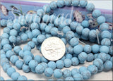Turquoise Blue Matte Howlite Beads 6mm Full Strand