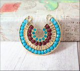 Zola Elements Gold Horseshoe Pendant, Exotic style, Rudy Red, Blue Turquoise Connector