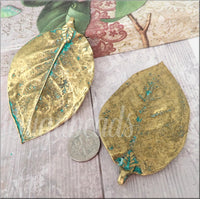 Zola Elements Patina Green Brass plated Magnolia Leaf Pendant