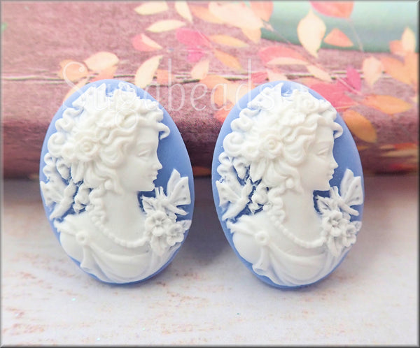 2 Classic Lady w Butterfly Cameo, White & Blue Butterfly Cameo
