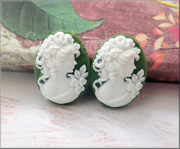 2 Classic Lady w Flowers Cabochon, Forest Green Flower Cameo