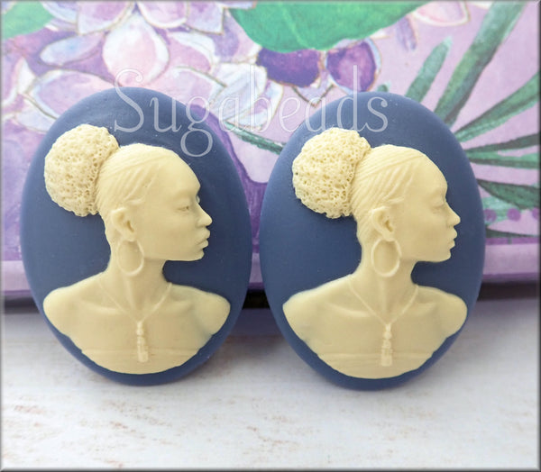 Cream on Blue Oval African Woman Cameo, Powerful Woman Cabochon