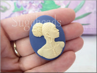 Cream on Blue Oval African Woman Cameo, Powerful Woman Cabochon - sugabeads