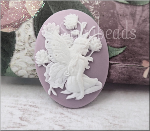 2 Fairy in Flowers Cameo, Nymph Lavender Cameo, Flat Back Cameo