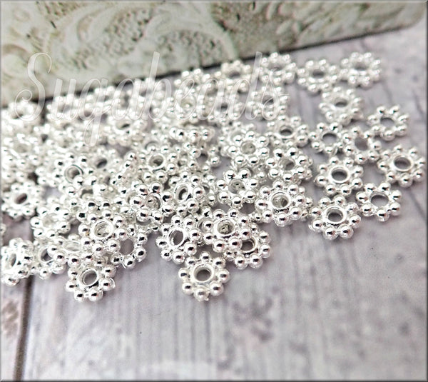 100 Bright Silver Daisy Spacers 5mm DS5