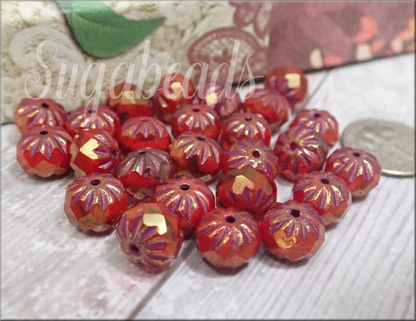 10 Czech Glass Cruller Beads in Boysenberry 9mm x 6mm