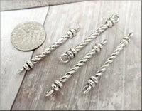 4 Zola Elements Antique Silver Roped Connector Bar