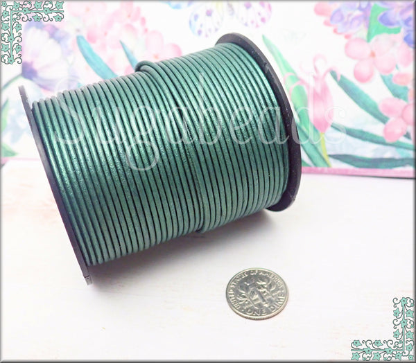 Metallic Leather Cord in Turquoise Green, 1.5mm Round Leather Cord - sugabeads