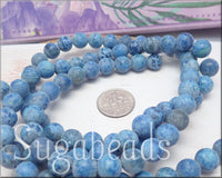 Frosted Denim Blue Agate Beads, 8mm Crazy Lace Agate Gemstones