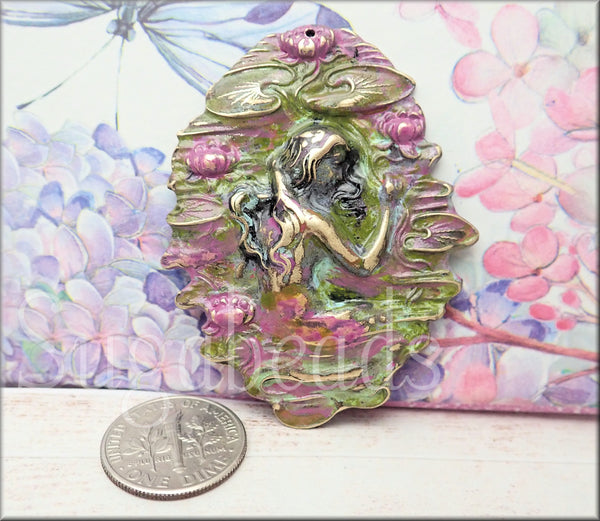 Vintaj Brass Waterlily Maiden, Hand Painted Lotus Flower Maiden
