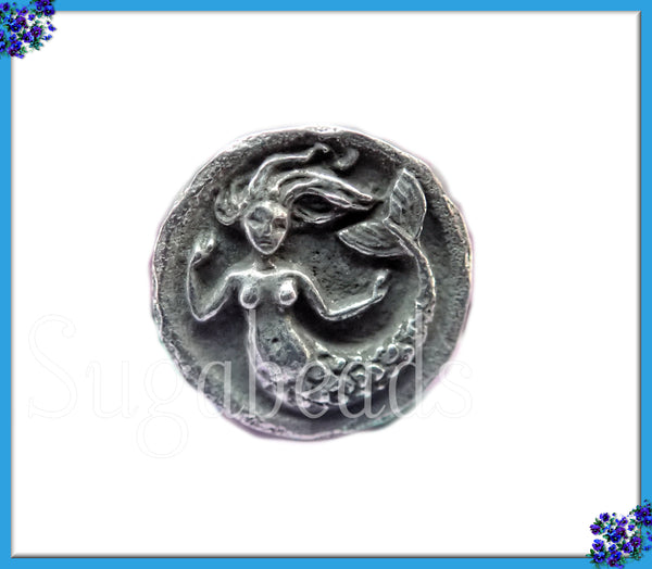 Green Girl Studios Pewter Mermaid Button 15mm