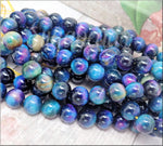 10 pieces Rainbow Tiger Eye Beads 8mm, Galaxy Tiger Eye, Blue Tiger Eye Gemstone Beads