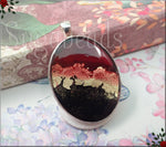 Modern Art Pendant, Red, Gold, Black Oval Pendant