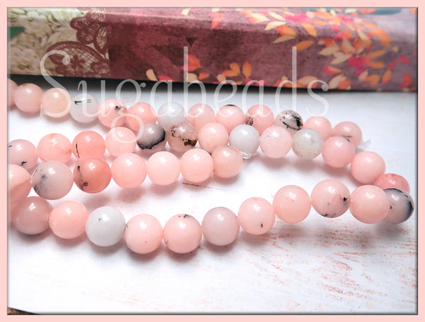 Cherry Blossom Jasper Beads, 8mm Pink Jasper Beads, 8mm Pink Gemstone Beads