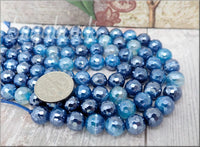 24 Round Faceted Agate Beads with Silver Luster in Classic Blue