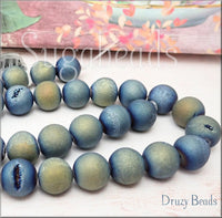 Blue-Green Druzy Beads, 10mm Round Druzy Agate Beads, Geode Beads