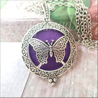 Antiqued Silver Aromatherapy Butterfly Pendant with Scent pad
