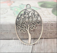 6 Oval Antiqued Silver Tree Pendant, Swirl Tree of Life Pendant, Spiral Yggdrasil