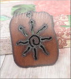 The Lipstick Ranch Large Rusted Iron Sun Dog Tag 42x50mm