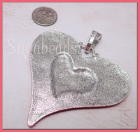Large Weathered Red Heart Pendant, Altered Art Pendant