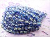 Czech Glass Melon Beads, Sapphire and Sky Blue with Gold Wash, 6mm Large Hole - sugabeads