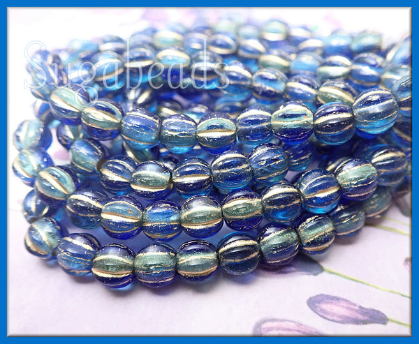Czech Glass Melon Beads, Sapphire and Sky Blue with Gold Wash, 6mm Large Hole