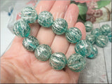 4 Large Teal Czech Glass Melon beads with a Silvery Finish 14mm