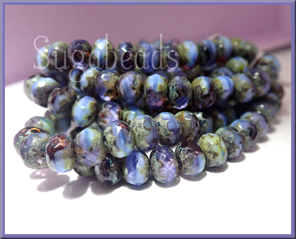 Czech Glass Rondelle Beads in Cornflower Blue and Grape Purple w Picasso finish