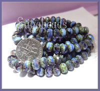 Czech Glass Rondelle Beads in Cornflower Blue and Grape Purple w Picasso finish - sugabeads