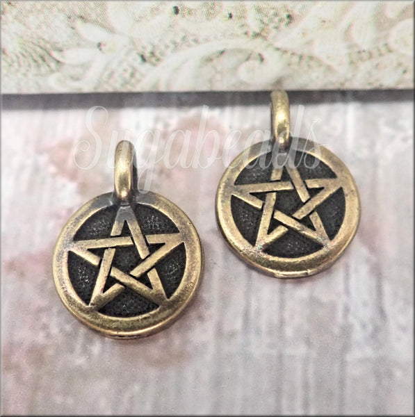 2 Small Oxidized Brass Pentagram Charms