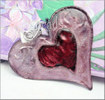 Large Weathered Rose & Red Heart Pendant, Altered Art Pendant