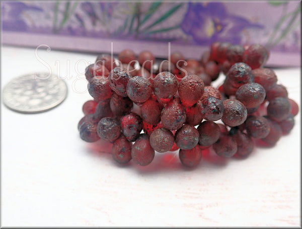 50 Ruby Red Czech Glass Drop Beads with a Picasso and Etched Finish