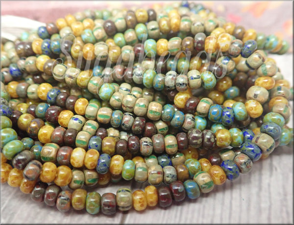 Caribbean Mix - Striped Aged Picasso Seed Beads CZBB1