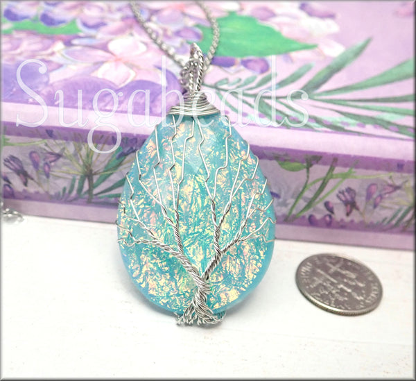 Silver Wire Wrap Tree over Blue Resin Drop Pendant w Chain - sugabeads