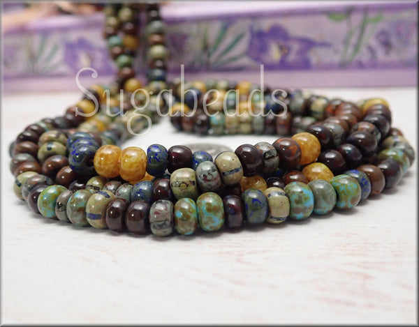 Caribean Mix, Aged Striped Picasso Mix, Czech Glass Seed Beads 2/0 -3/0 - sugabeads
