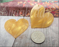 2 Golden Butterscotch Hearts, Zola Elements Heart Focal, Acetate Heart