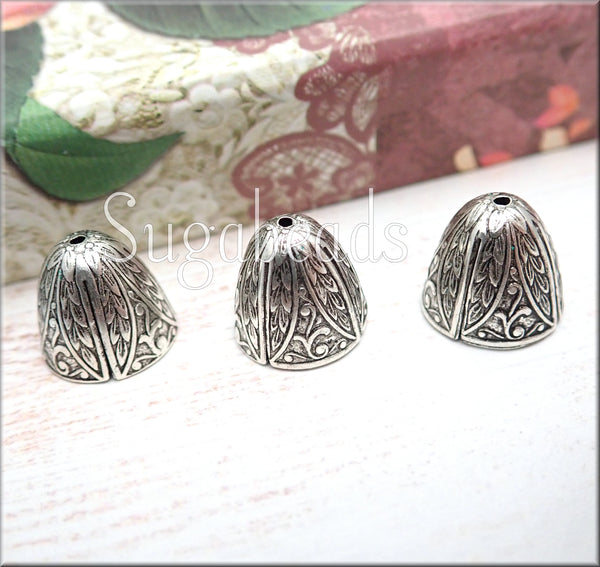 Silver over Brass Bead Cap ends, Art Nouveau Style Bead Caps 12mm - sugabeads