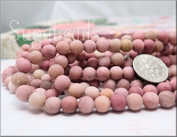 6mm Matte Pink Rhodonite Gemstone Beads, Frosted Rhodonite Beads - sugabeads