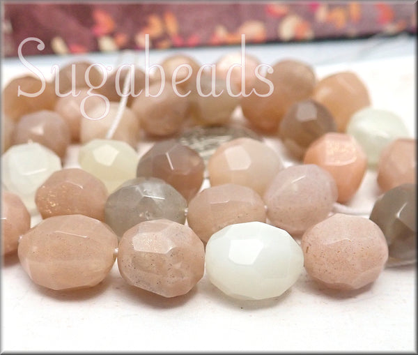 Faceted Mixed Moonstone Beads, Nugget Gemstones - sugabeads