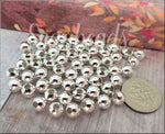 100 Bright Silver Spacer Beads 6mm, Plain Round Spacer Beads 6mm