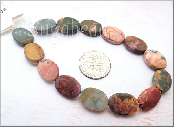 Matte Oval Red Creek Jasper Gemstone Beads - sugabeads