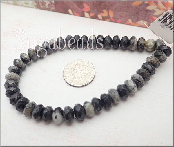 "Faceted Black Silver Leaf Jasper Gemstone Beads 8"" Strand"