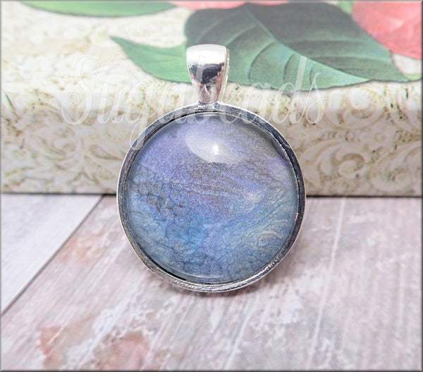 1 Peacock Blue & Purple Pendant, Abstract Art Pendant, 1 Inch Glass dome Pendant