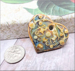 Ceramic Heart Pendant, Handmade Blue Ceramic Heart